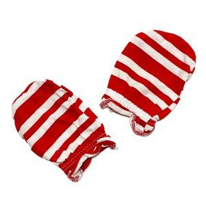 Red & White Striped Infant Scratch Mitts